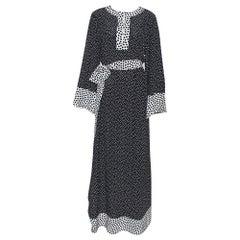 Dolce & Gabbana Monochrome Polka Dot Silk Belted Maxi Dress M