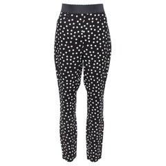 Dolce & Gabbana Monochrome Polka Dotted Crepe Trousers L