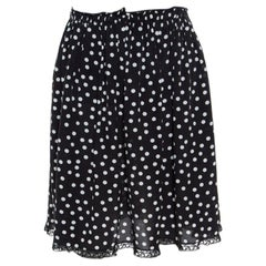 Dolce & Gabbana Monochrome Polka Dotted Lace Trim Silk Skirt M