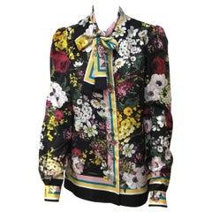 Dolce & Gabbana Multi Color Silk Floral Top-44