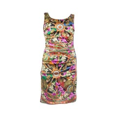 DOLCE & GABBANA multi silk DRAPED SHEATH Dress 42