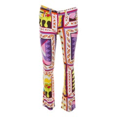 Dolce & Gabbana Multicolor Abstract Print Stretch Cotton Flared Trousers S