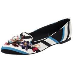 Dolce & Gabbana Multicolor Chevron Printed Fabric Crystal Ballet Flats Size 36.5