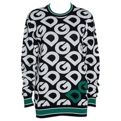 Dolce & Gabbana Multicolor DG Mania Print Wool Crew Neck Sweater IT 40