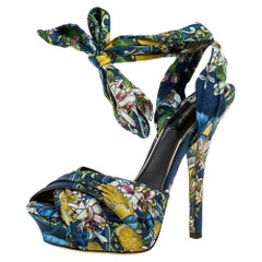 Dolce & Gabbana Multicolor Fabric Ankle Wrap Sandals Size 38