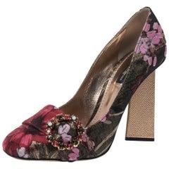 Dolce & Gabbana Multicolor Floral Brocade Fabric Block Heel Pumps Size 39