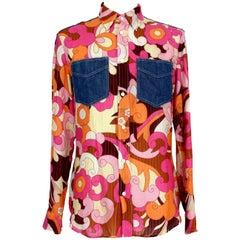 Dolce & Gabbana Multicolor Floral Jeans Lamè Shirt 1990s Purple and Blue