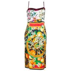 Dolce & Gabbana Multicolor Floral Lemon Print Silk Satin Sheath Dress S