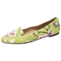 Dolce & Gabbana Multicolor Floral Print Brocade Flat Smoking Slippers Size 38