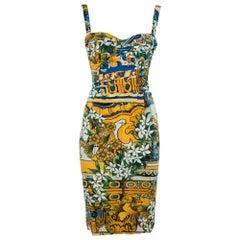 Dolce & Gabbana Multicolor Floral Print Silk Sleeveless Dress S
