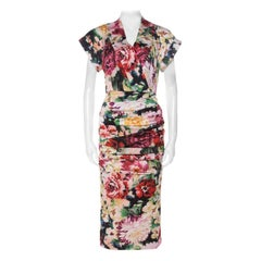 Dolce & Gabbana Multicolor Floral Print Silk Stretch Draped Dress S