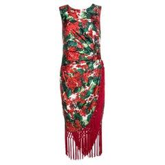 Dolce & Gabbana Multicolor Floral Print Silk Tasseled Faille Dress M