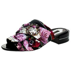 Dolce & Gabbana Multicolor Floral Printed Crystal Bow Open Toe Mules Size 39