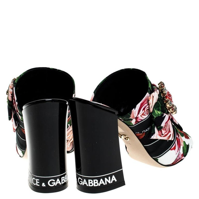 Black Dolce & Gabbana Multicolor Floral Printed Fabric Crystal Bow Mules Size 38 For Sale