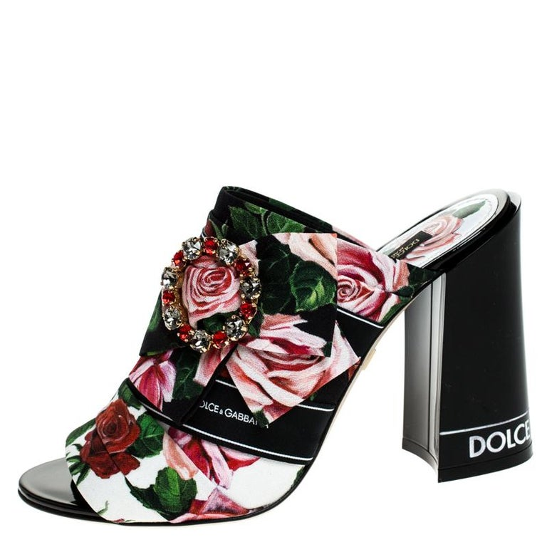 Women's Dolce & Gabbana Multicolor Floral Printed Fabric Crystal Bow Mules Size 38 For Sale