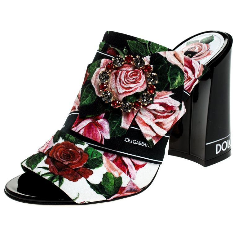 Dolce & Gabbana Multicolor Floral Printed Fabric Crystal Bow Mules Size 38 For Sale