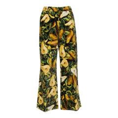 Dolce & Gabbana Multicolor Floral Printed Velvet Cropped Pants S