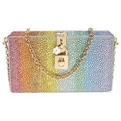 Dolce & Gabbana Multicolor Heat-Applied Rhinestones Dolce Box Clutch
