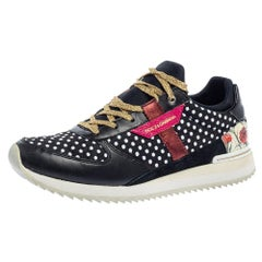 Dolce & Gabbana Multicolor Leather, Fabric And Suede Polka Dot Sneakers Size 37.
