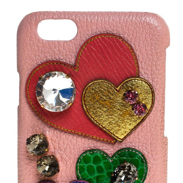 Women's Dolce & Gabbana Multicolor Leather Heart Crystal Embellished iPhone 6S Case For Sale