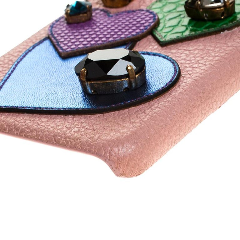 Dolce & Gabbana Multicolor Leather Heart Crystal Embellished iPhone 6S Case For Sale 3