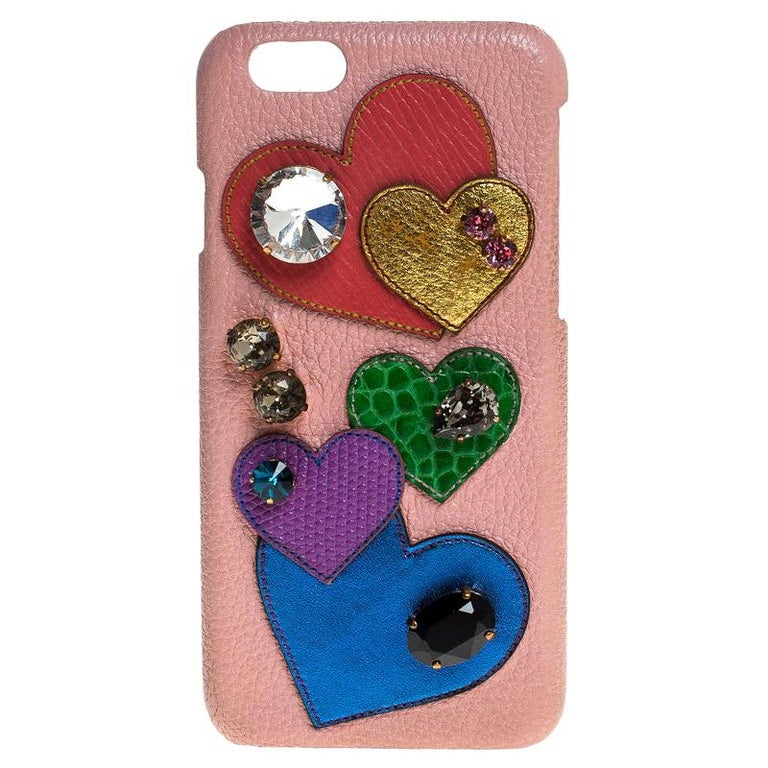 Dolce & Gabbana Multicolor Leather Heart Crystal Embellished iPhone 6S Case For Sale