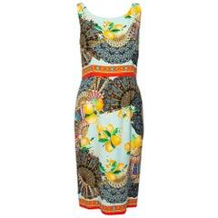 Dolce & Gabbana Multicolor Lemon Print Silk Crepe Sheath Dress M