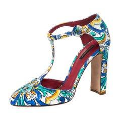 Dolce & Gabbana Multicolor Majolica Print Brocade Ankle Strap Pumps Size 40