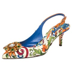 Dolce & Gabbana Multicolor Majolica Print Brocade Fabric Crystal Embellished Sli