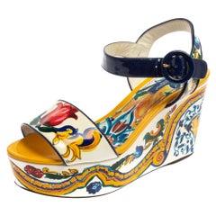 Dolce & Gabbana Multicolor Majolica Print Patent Leather Strap Sandals Size 36