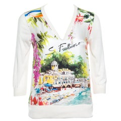 Dolce & Gabbana Multicolor Portofino Printed Silk Sweater S