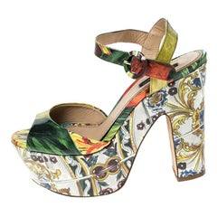 Dolce & Gabbana Multicolor Printed Patent Leather Platform Sandals Size 37.5