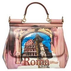 Dolce & Gabbana Multicolor Roma Print Leather Medium Miss Sicily Top Handle Bag