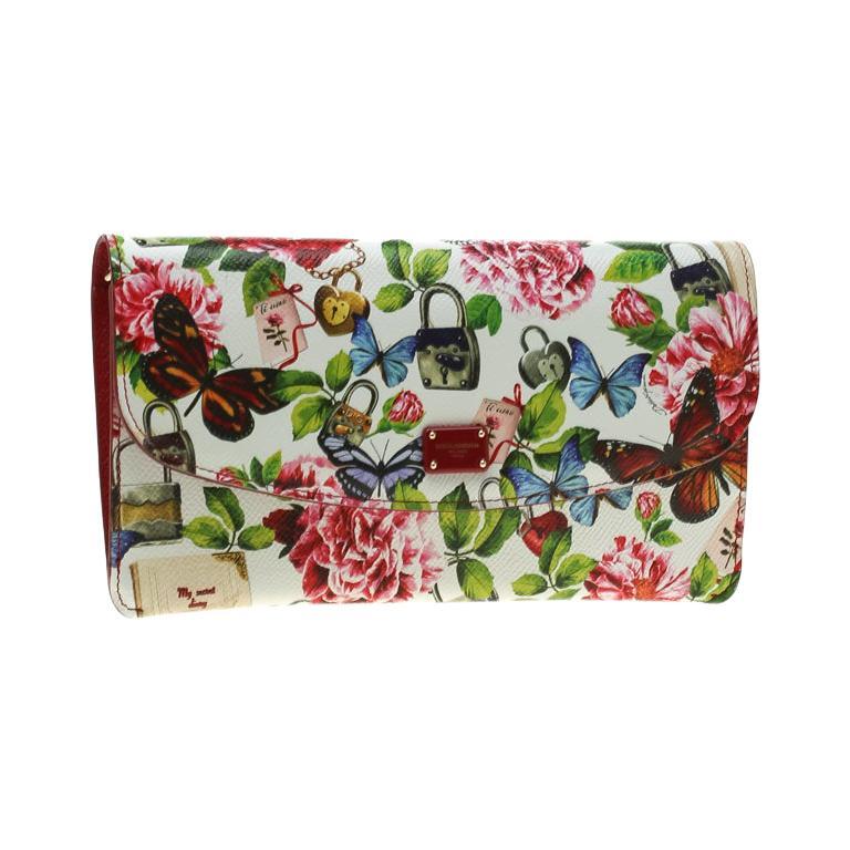 ea3efaeddbf Dolce & Gabbana Multicolor Secret Butterfly Print Leather Chain Clutch Bag