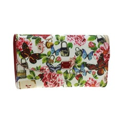 Dolce & Gabbana Multicolor Secret Butterfly Print Leather Chain Clutch Bag