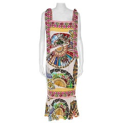 Dolce & Gabbana Multicolor Stretch Silk Oriental Fan Print Flounce Dress M