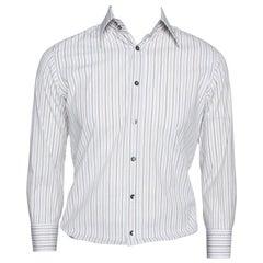 Dolce & Gabbana Multicolor Striped Cotton Slim Fit Button Front Shirt S