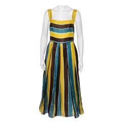 Dolce & Gabbana Multicolor Striped Silk Organza Midi Dress L