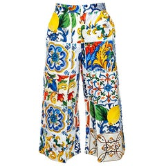 Dolce & Gabbana Multicolor Textured Cotton Majolica Print Cropped Trousers S