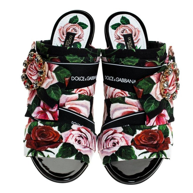 Black Dolce & Gabbana Multicolored Charmeuse Printed Bejeweled Buckle Mules Size 40 For Sale