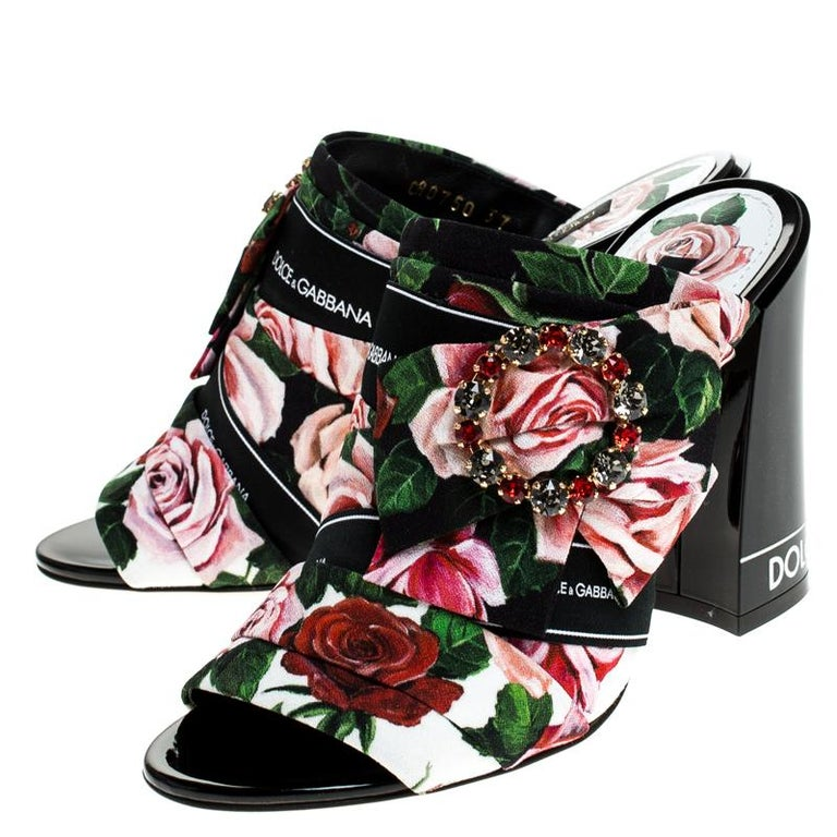 Women's Dolce & Gabbana Multicolored Charmeuse Printed Bejeweled Buckle Mules Size 40 For Sale
