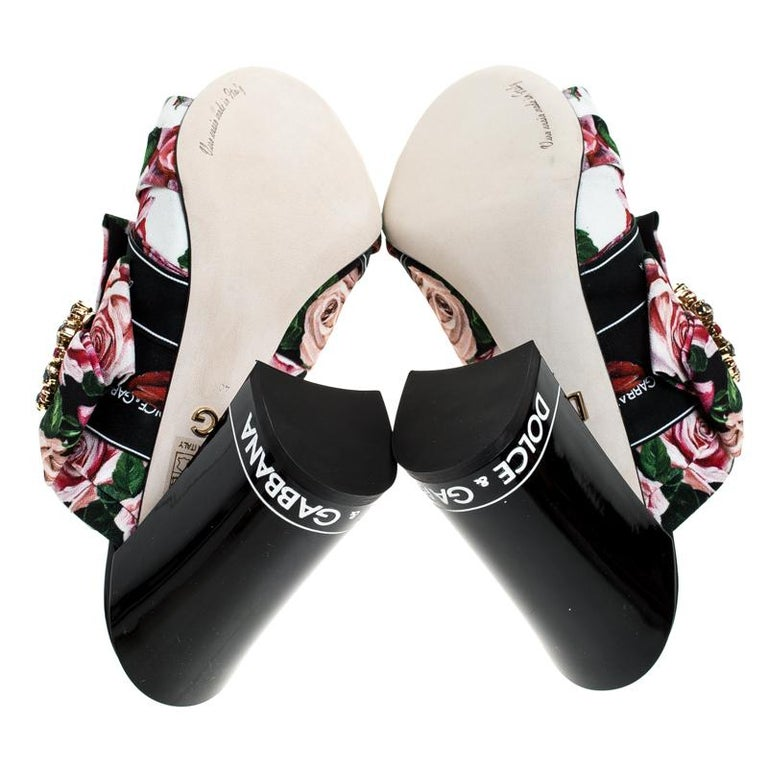 Dolce & Gabbana Multicolored Charmeuse Printed Bejeweled Buckle Mules Size 40 For Sale 2