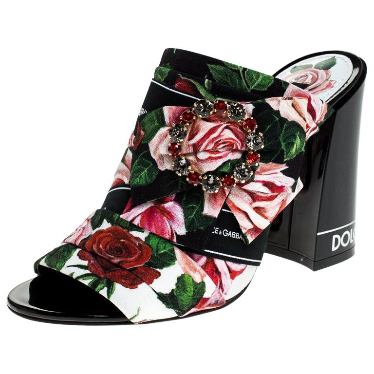 Dolce & Gabbana Multicolored Charmeuse Printed Bejeweled Buckle Mules Size 40 For Sale