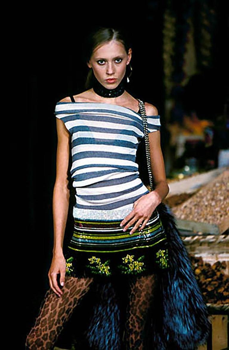 Black Dolce & Gabbana multicoloured rhinestone beaded fringed mini skirt, ss 2000 For Sale