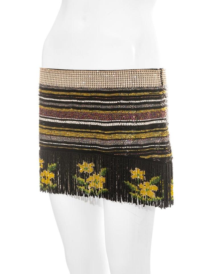 Women's Dolce & Gabbana multicoloured rhinestone beaded fringed mini skirt, ss 2000 For Sale