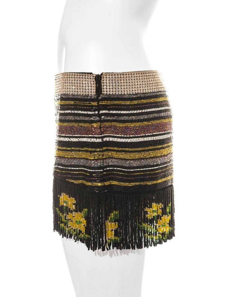 Dolce & Gabbana multicoloured rhinestone beaded fringed mini skirt, ss 2000 For Sale 1