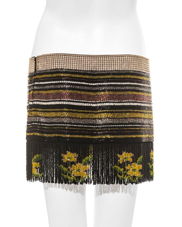 Dolce & Gabbana multicoloured rhinestone beaded fringed mini skirt, ss 2000 For Sale 2