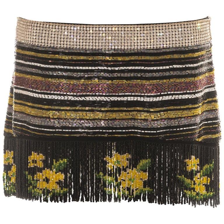 Dolce & Gabbana multicoloured rhinestone beaded fringed mini skirt, ss 2000 For Sale