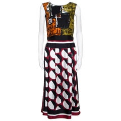 Dolce & Gabbana Multilcolor Abstract Printed Silk Sleeveless Dress S