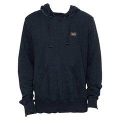 Dolce & Gabbana Navy Blue Cotton Frayed Detail Hoodie XL